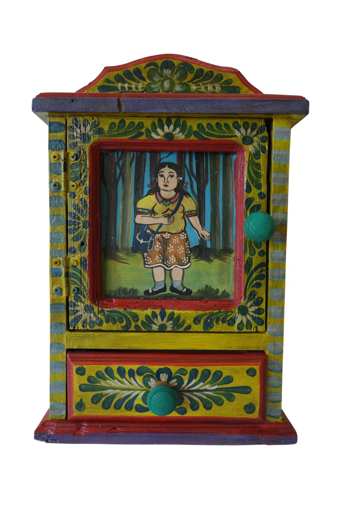 Hand Painted Mexican Wall Hanging Key Box, 10