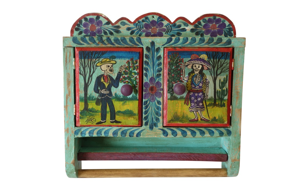 Hand Painted Mexican Toiletry Cabinet with Towel Bar, 18