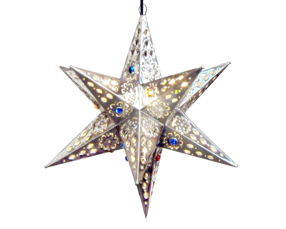Tin star pendant light with canicas, 13