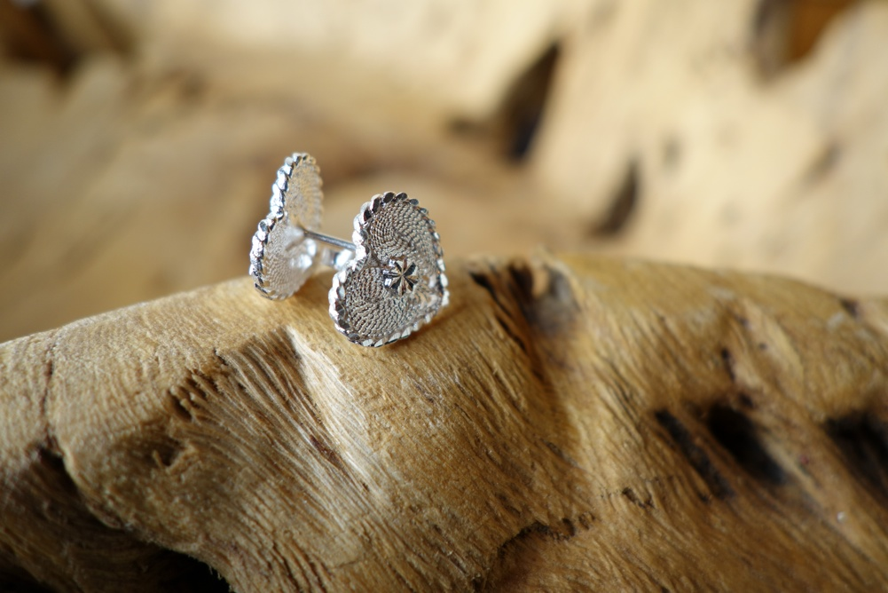 925 Silver Filigree 10mm Heart POST Earrings