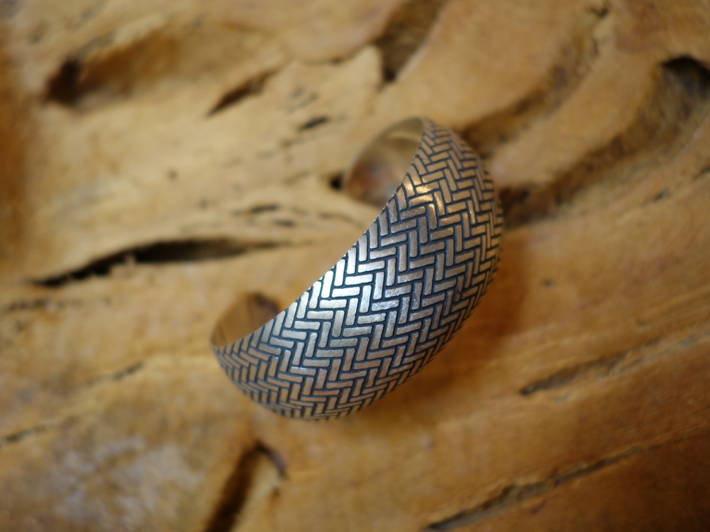 2.5cm x 6cm Sterling Silver Bracelet with Herringbone Pattern
