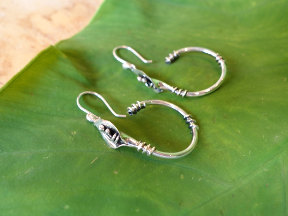 4cm HANG 925 Silver Calililly Hoop Earrings