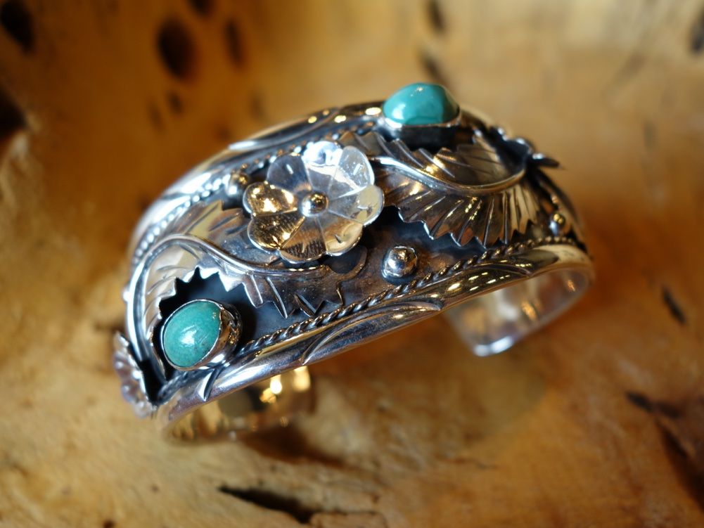 Navajo Style with Turquoise Solid 925 Silver Bracelet