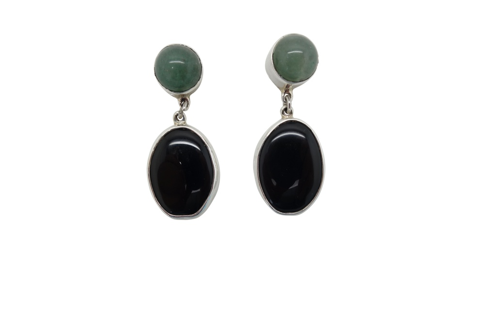 Elongated Onyx with agua marina simple Sterling Silver encasement-POST