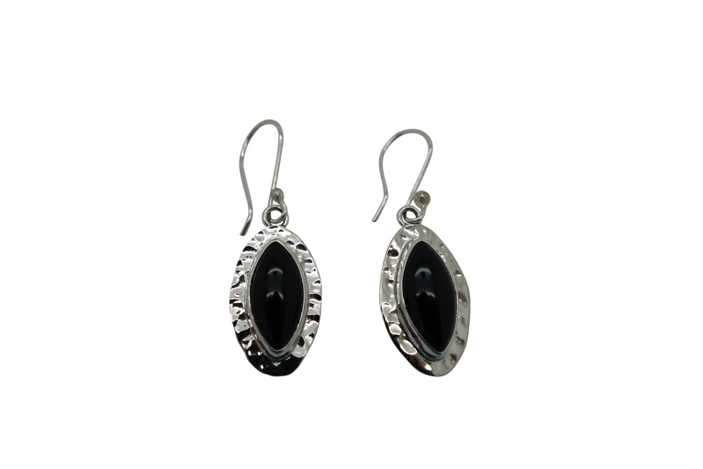 Elongated Onyx Hammered Flange Sterling Silver Earrings-HANG