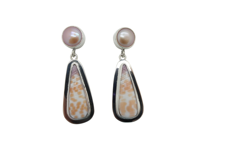 Elongated orange white shell and pearl encased with simple flange Sterling Silver-POST