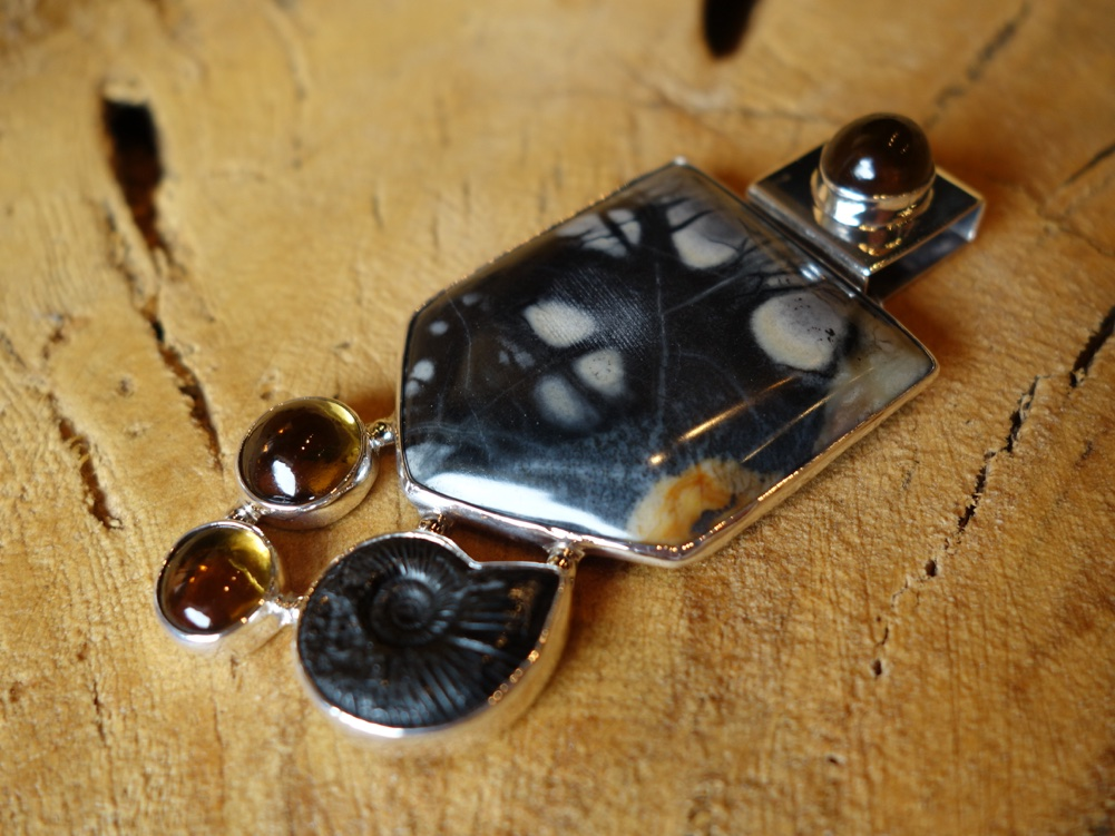 7cm Jasper with amber and fosil Solid 925 Silver Pendant