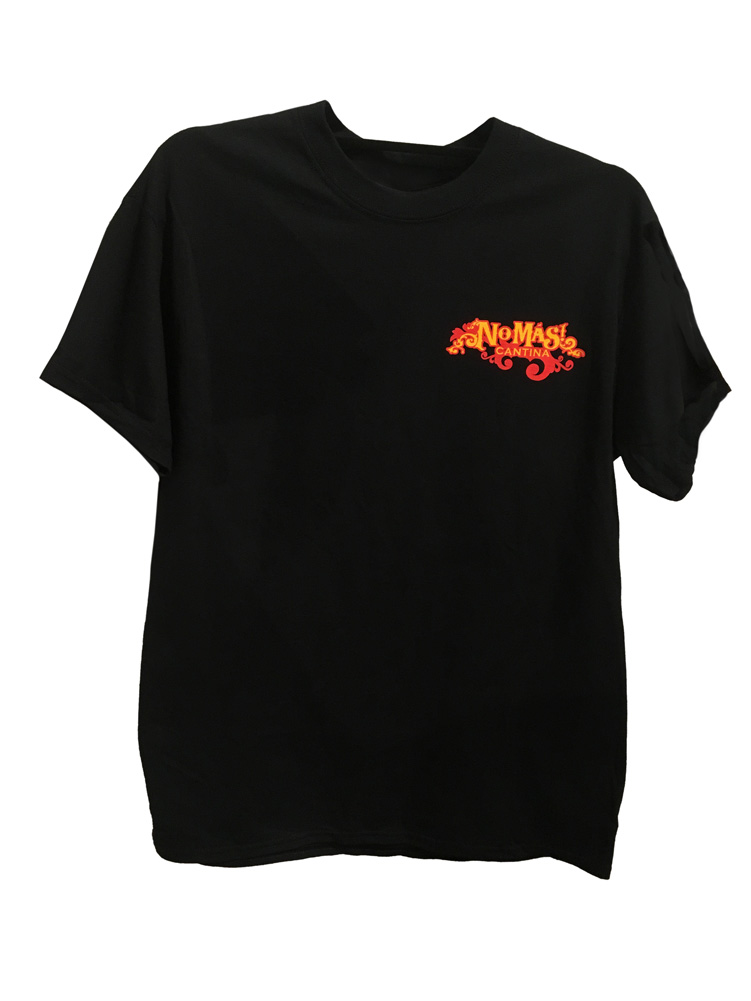No Mas Cantina Black Tee w/ logo - Medium