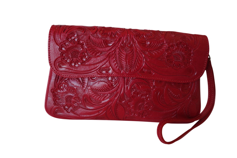 GRANADA Handtooled Leather HandbagRed Color10