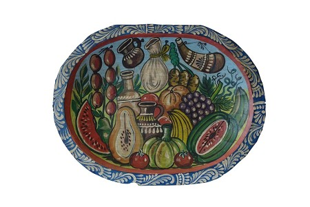 "Hand Painted Mexican Wood Dough Bowl XL, 20""x15""x2"", 4lbs."