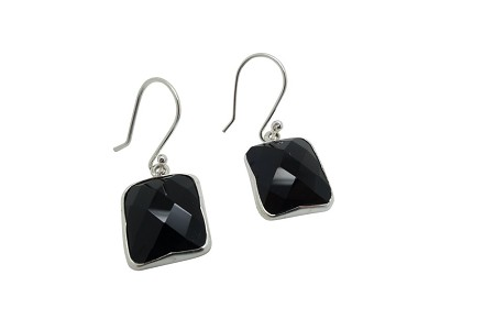 Faceted Square Onyx Sterling Silver Earrings HANG