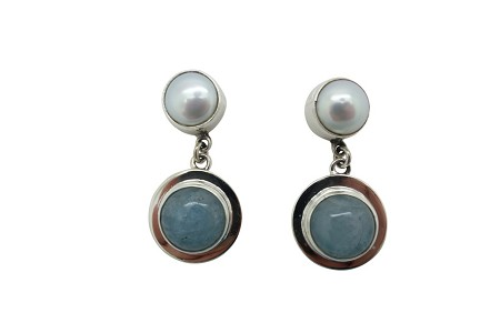 Round Agua Marine and Pearl with simple flange sterling silver earrings-POST