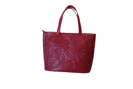 CHICHENITZA Handtooled Leather Handbag16.5x7x12Red Color
