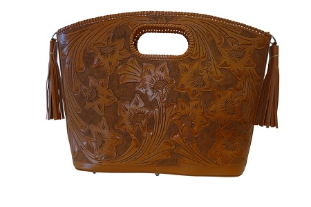 "BECAN 20.5""x 5""x 15""Bugati ColorHandtooled Leather Handbag"