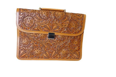 "Handtooled Leather Briefcase16""x12""x3""T Bugati Color"