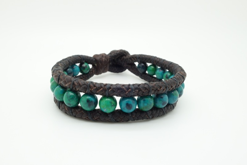 Handmade leather and natural stone bracelets. 8