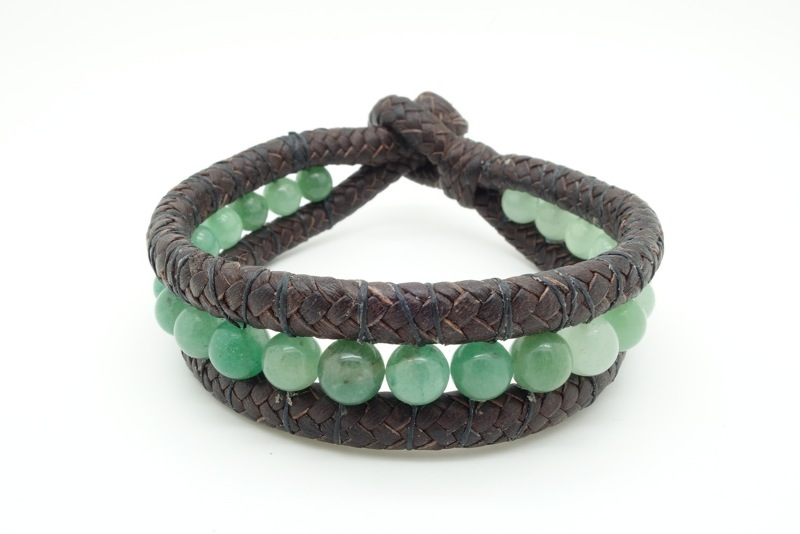 Handmade leather and natural stone bracelets. 9