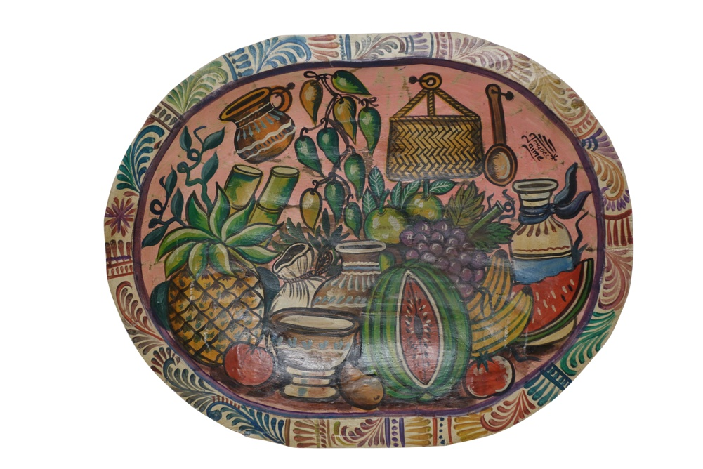 Hand Painted Mexican Wood Dough Bowl XL, 20