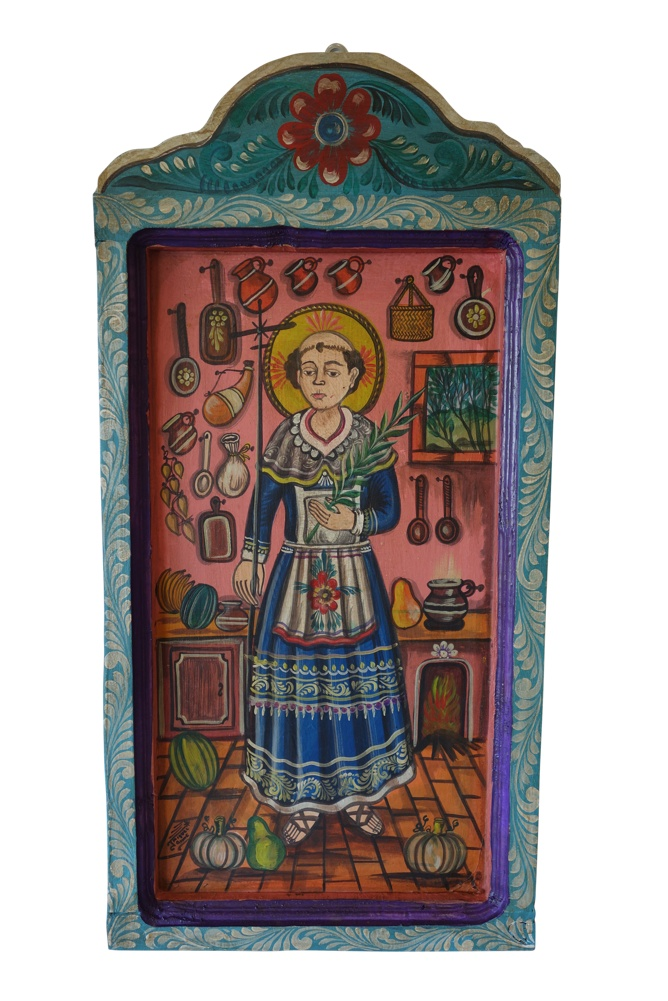 Hand Painted Wooden Mexican Mural,15.5