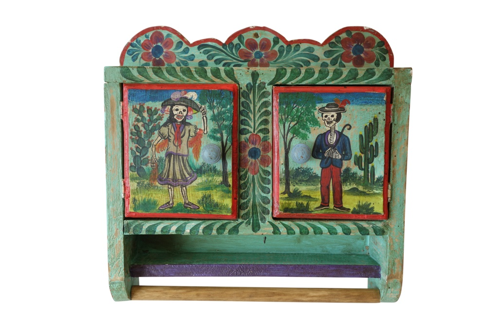 Hand Painted Mexican Toiletry Cabinet with Towel Bar, 18\