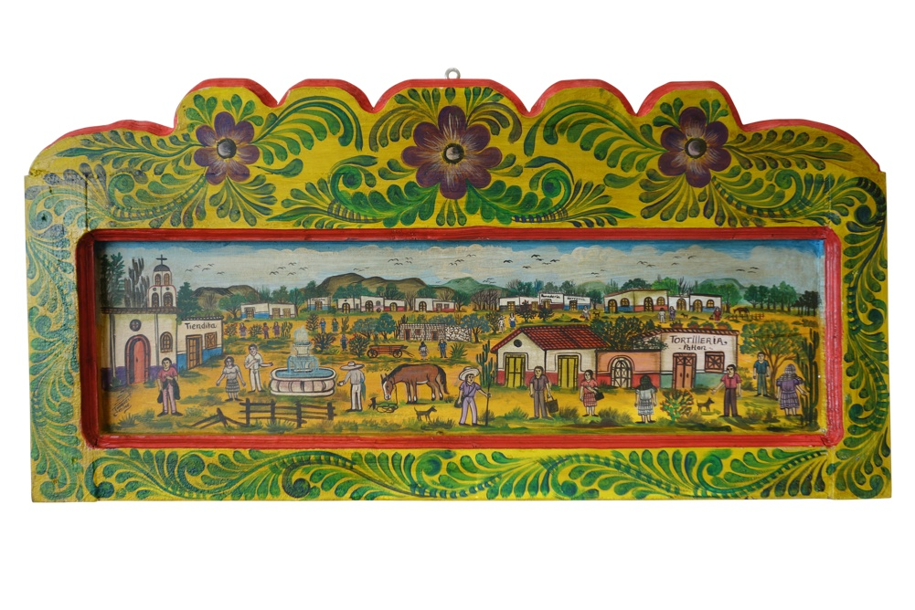 Hand Painted Mexican Village Wooden Mural XL, 41