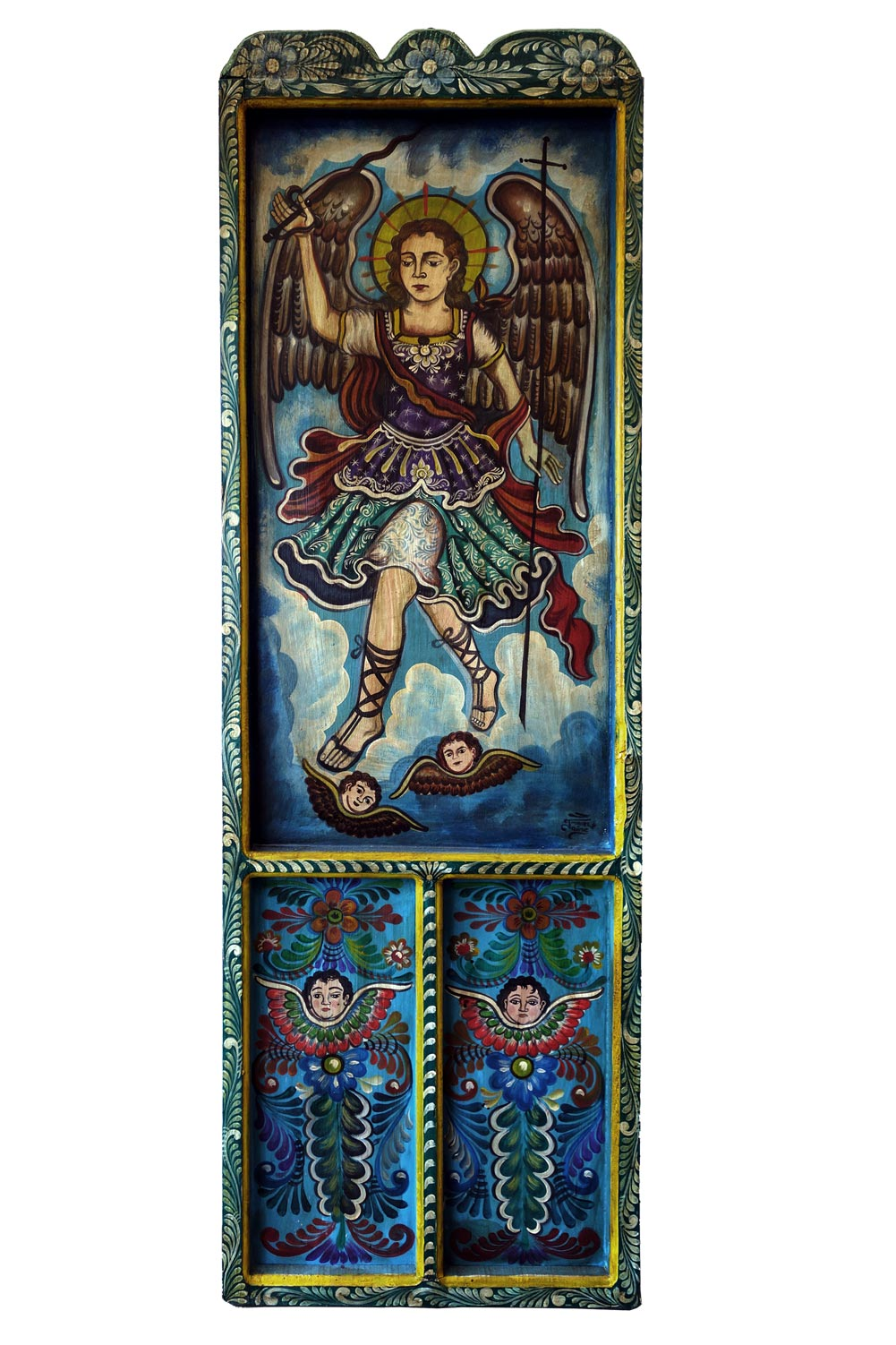 Hand Painted Mexican Arch Angel Wooden Door BLUE 22.75