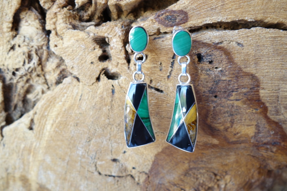 Malachite Onyx and Tigers Eye Inlay Earrings