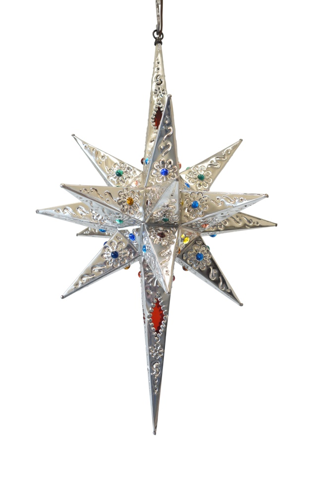 Estrella Pico Largo Con vidrio ChicaRed Glass ColorPerforated Tin Star 28