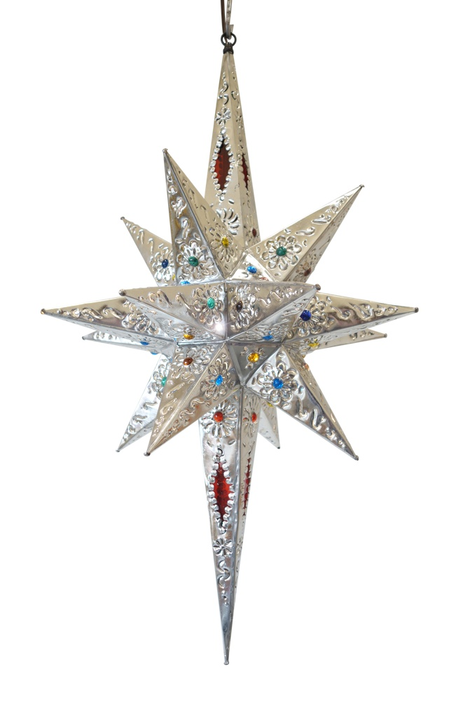 Estrella Pico Largo Con Vidrio MedianaRed Glass ColorPerforated Tin Star 31