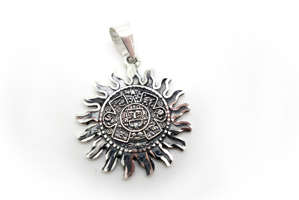925 34mm silver mayan sun pendant quick view mozeypictures Choice Image