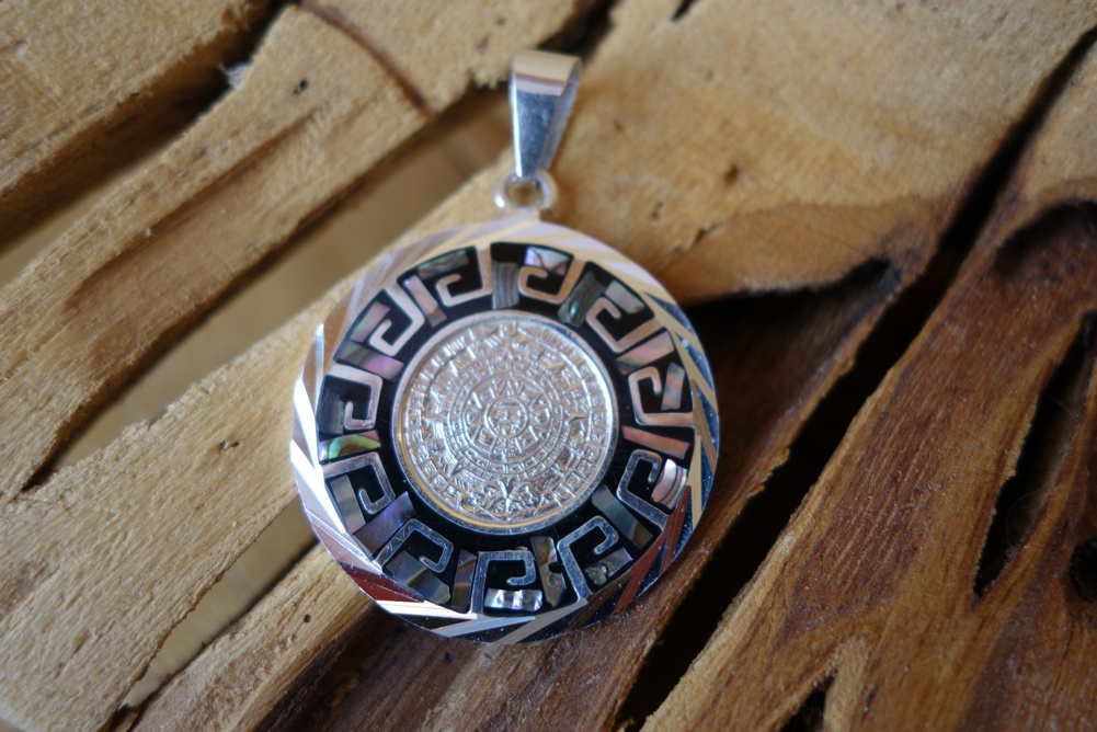 925 34mm Silver Mayan Design Round with Inlay