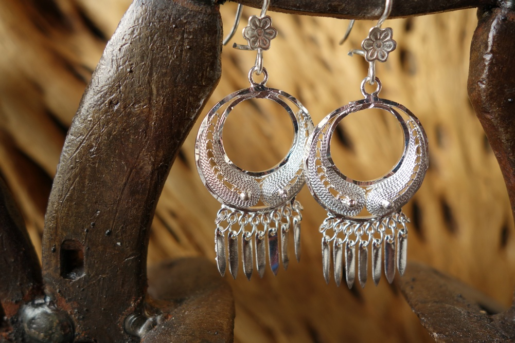925 Silver Filigree 22mm Round HANG Earrings