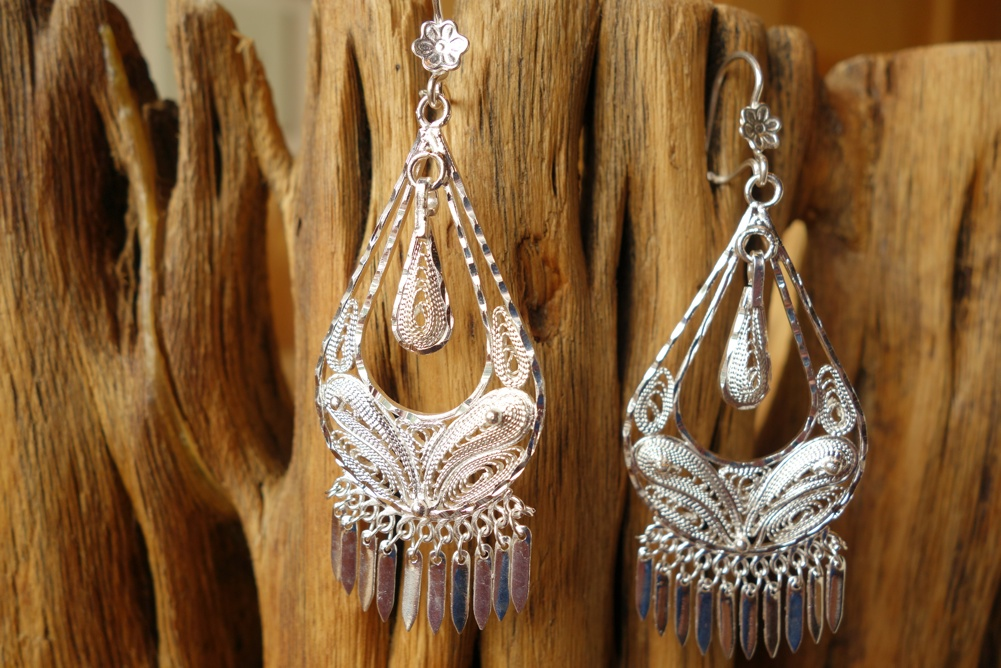 925 Silver Filigree 28mm wide Teardrop HANG Earrings