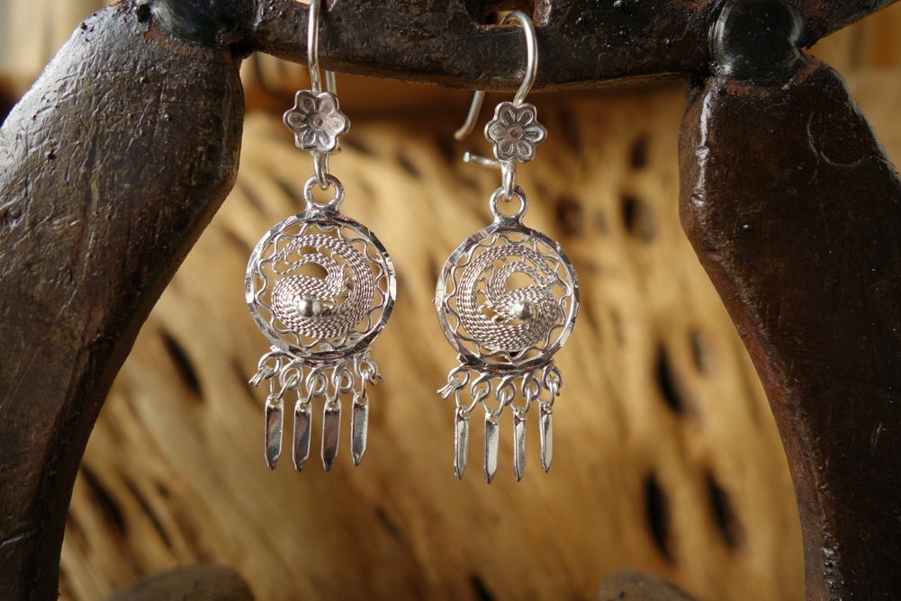 925 Silver Filigree 13mm Round HANG Earrings