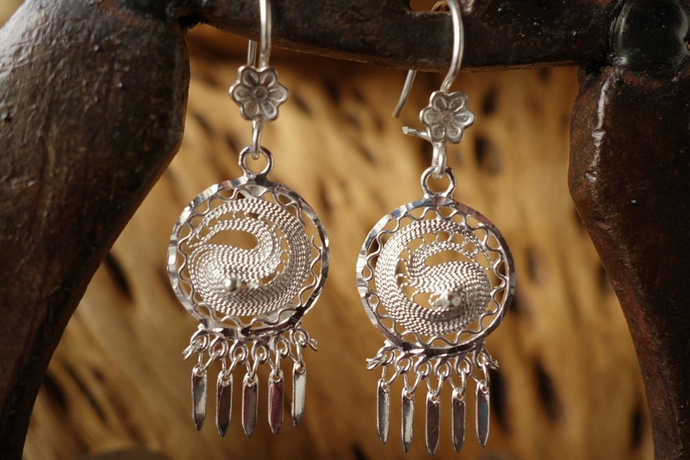 925 Silver Filigree 17mm Round HANG Earrings