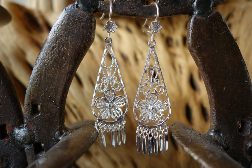 925 Silver Filigree 40mm long Teardrop with Flower HANG Earrings
