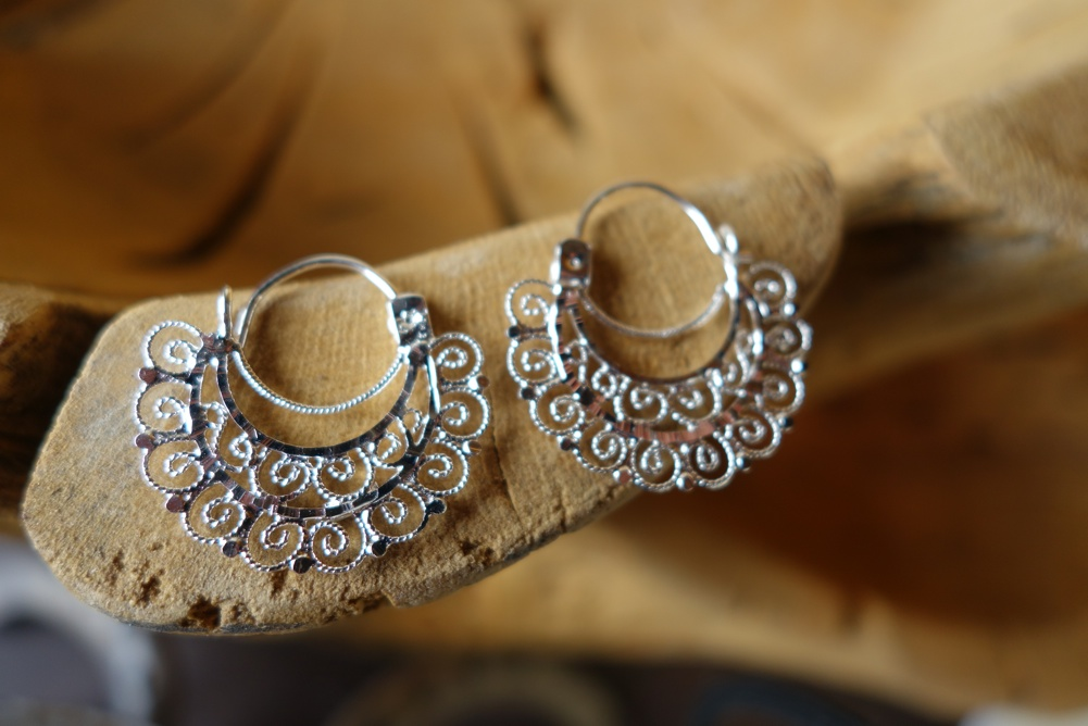 925 Silver Filigree 27mm Semicircular HANG Earrings