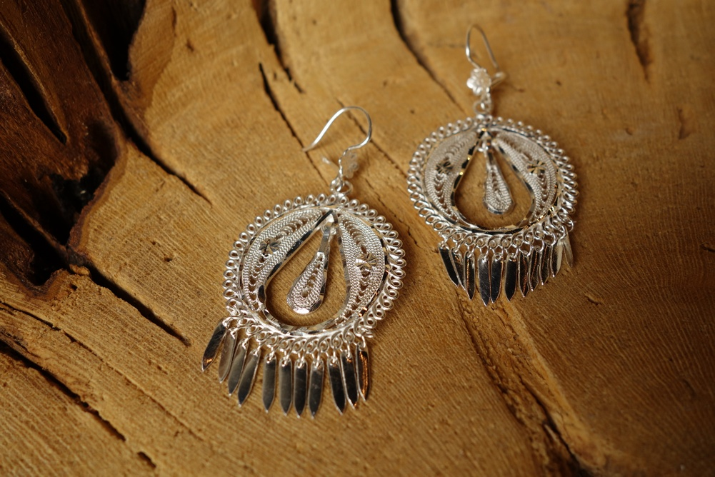 925 Silver Filigree 32mm Round with Teardrop interior HANG Earrings