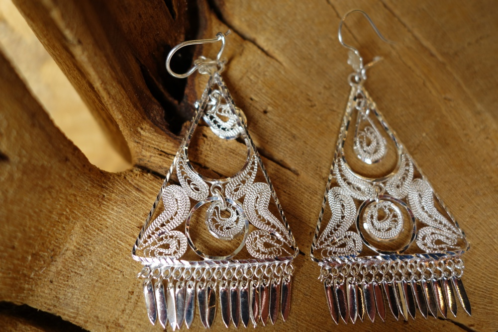 925 Silver Filigree 50mm long Triangular HANG Earrings