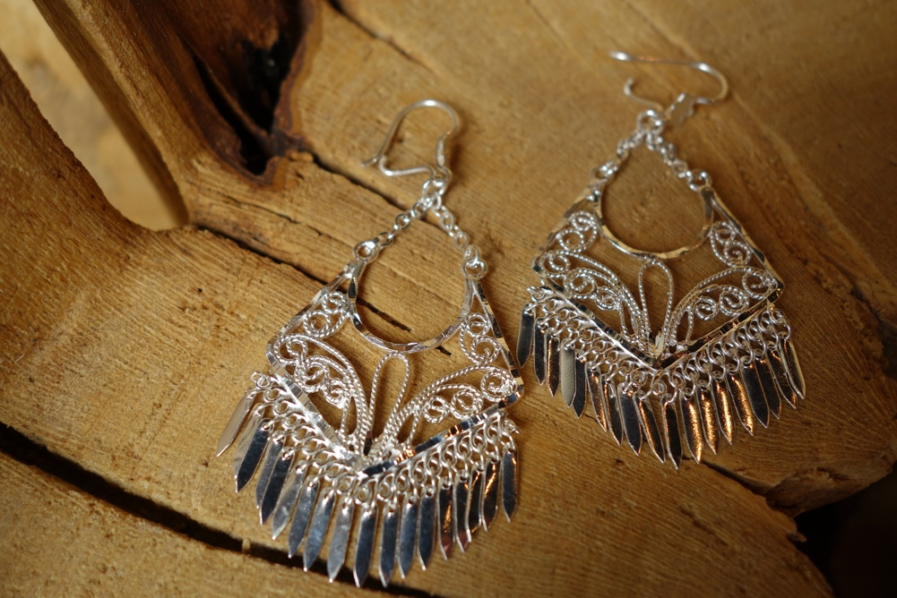 925 Silver Filigree 40mm long HANG Earrings