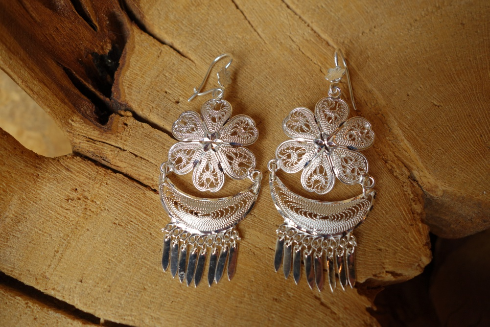 925 Silver Filigree 35mm long HANG Earrings