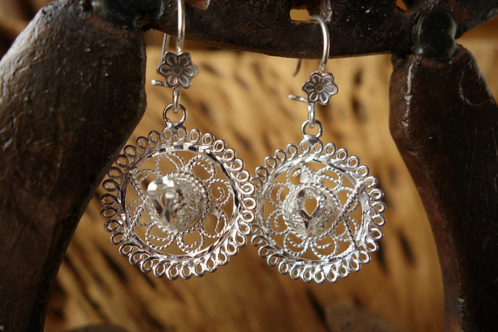 925 Silver Filigree 24mm diameter Sombrero HANG Earrings