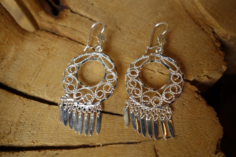 925 Silver Filigree 26mm Round with round HOOP Earrings