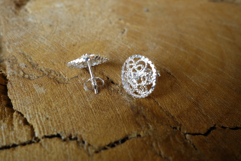 925 Silver Filigree 14mm Round POST Earrings