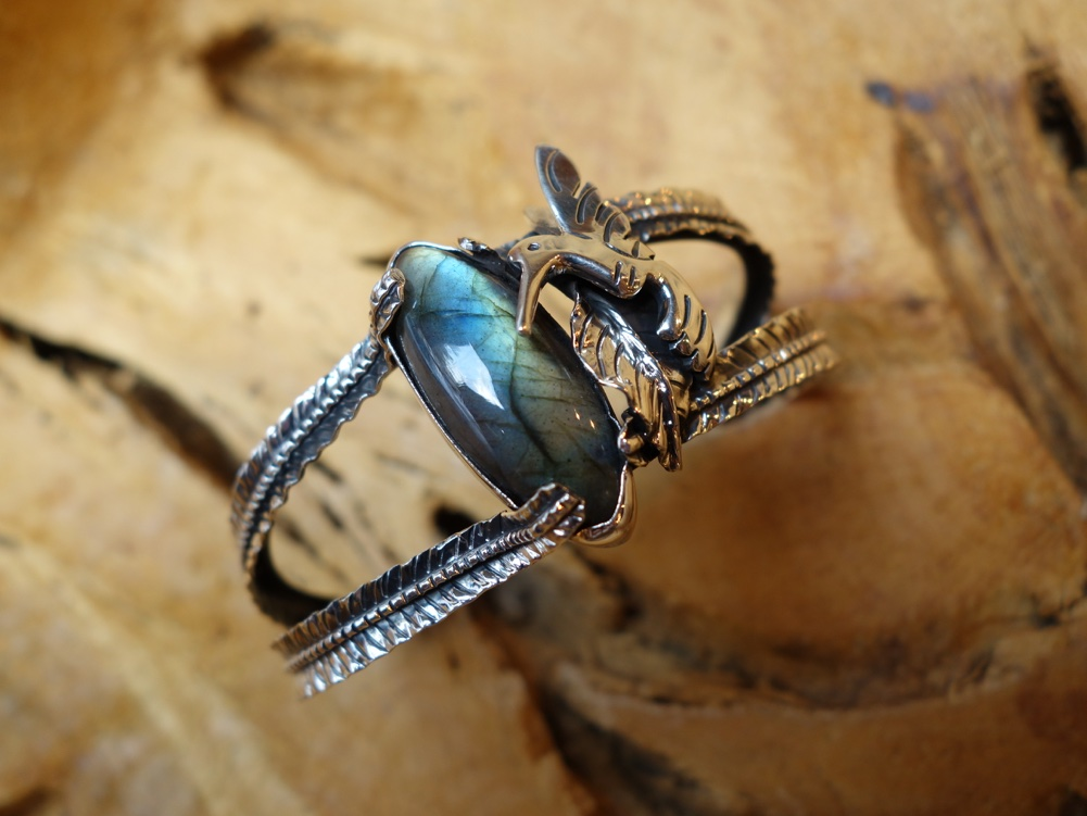Labradorite with Dragonfly 925 Silver Leaf with Hummingbird Bracelet