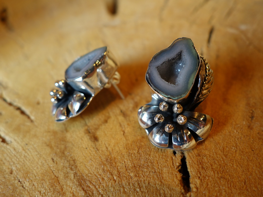 Geode and Flower 925 Solid Silver Earrings Can Pair with NOV-P003
