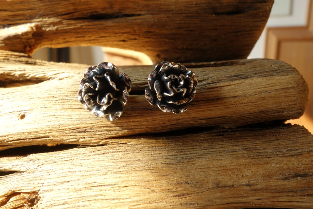 925 Silver Rose POST Earrings