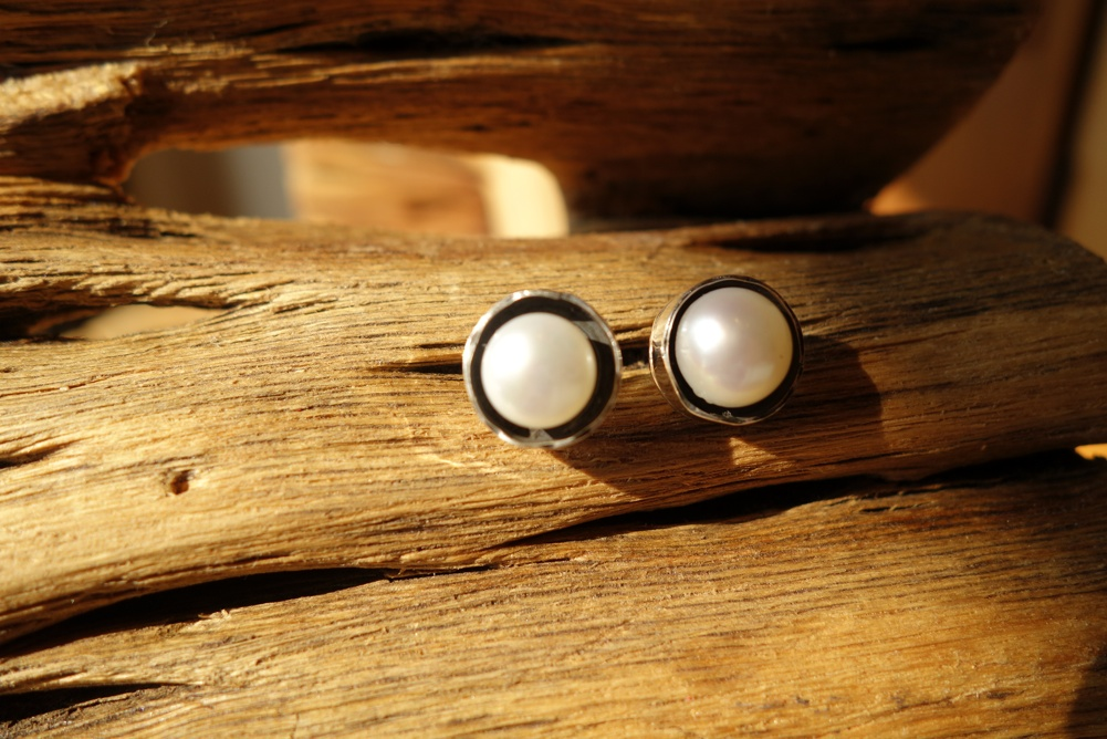 925 Silver with Pearl POST Earrings