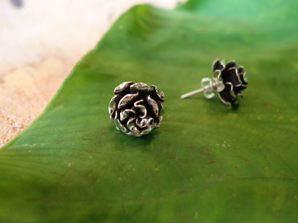 1.5cm POST Sterling Silver Rose