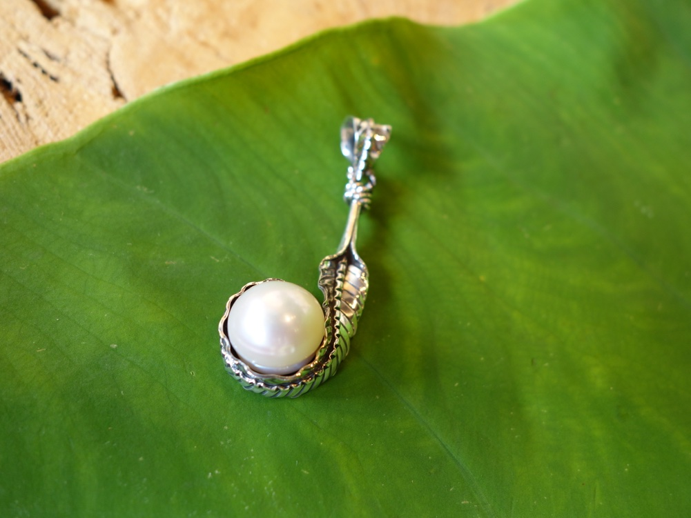 4cm Sterling Silver Leaf with Pearl
